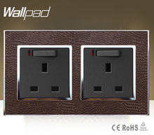 Wallpad Luxury Double 13 A UK Switched Socket Goats Brown Leather 1 Gang Switch and 13A Wall Socket With Neon Free Shipping