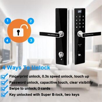 Eseye Digital Electronic Lock Door Safe Smart Door Locks Intelligent Fingerprint Door Lock Fingerprint With Password&RFID UnlocK digital electronic smart lever locks handle password passage entry satin chrome password lock