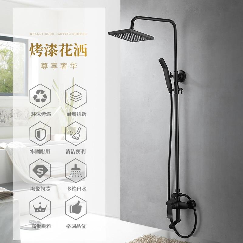 Aliexpress.com : Buy Black Matte Suit Square Shower Bath Faucet 8 ...