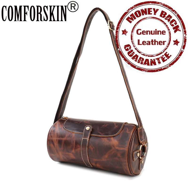 Barrel-shaped Messenger Bags for Men 2017 Novel Design Premium Crazy Horse Leather Fashion Round Men Shoulder Bags Single Strap blundstone 1320 premium crazy horse gum