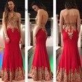 ZYLLGF Bridal Mermaid Halter Neck Evening Dresses Long Floor Length Elegant Plus Size Evening Gowns With Gold Appliques DR50