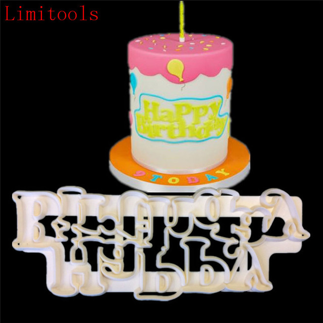 LIMITOOLS Happy Birthday Plastic Candy Stencils Biscuits Cookie Cutter Mold Cake Fondant Decoration
