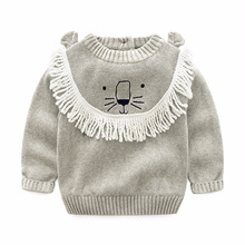 New 2018 Spring Girl Boys Cotton Thread Sweater Baby Kids O-Neck Tassels Soft Sweater Kids Boutique Knitted Cartoon Lion Sweater