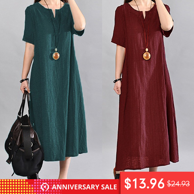 cf7559c802 Celmia Plus Size Women Summer Dress 2018 Vintage Linen Vestido Casual V  Neck Short Sleeve Pockets