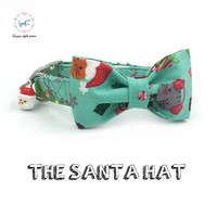 Santa Hat Merry Christmas Dog And Cat Collar With Bow Tie And Santa Claus Bell Dog