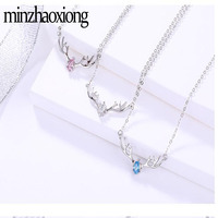 Brand S925 Sterling Silver Deer Has You Necklace Antler Inlaid Zircon Clavicle Chain Christmas ornaments Women's Fine Jewelry