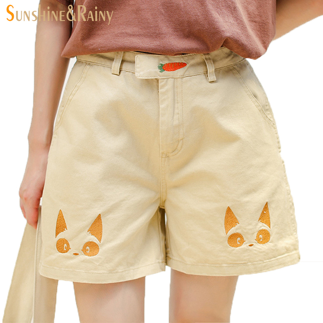 9d6326c01bf9 summer new funny female pattern cat carrot embroidery loose cotton linen  overalls women suspenders wide leg short jumpsuit