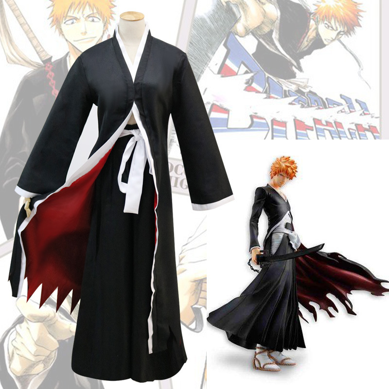 Japanese Anime Bleach Cosplay Costume Kurosaki Ichigo Cloak Cosplay Costume Black Cloak Cape Mantle Free Shipping