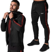 YEMEKE New fashionable men suit stitching printed high quality brand fitness sports leisure clothing men hoodie + men pants