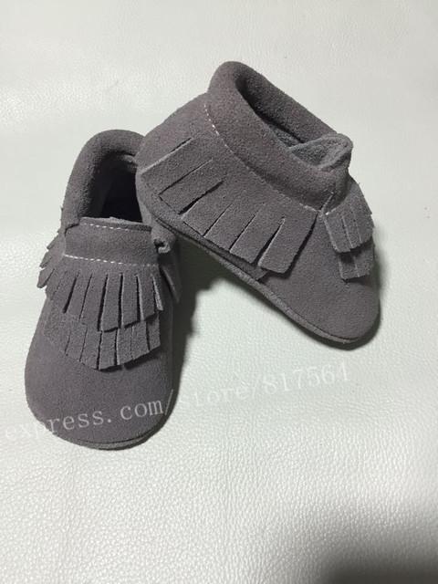 Nuevo double gris borla mocasines arco zapatos de bebé de cuero genuino de la vaca soft moccs zapatos de bebé recién nacido primer caminante antideslizante zapatos infantiles