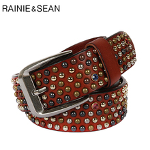 RAINIE SEAN Real Leather Belt Men Rivet Pin Buckle Belts Brown Italian Genuine Cowhide Diamond High Quality Male