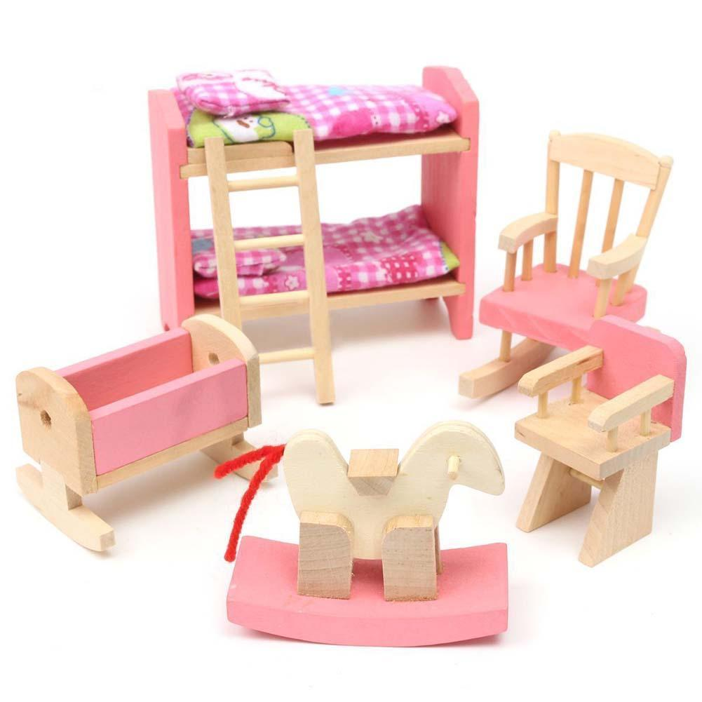 Us 367 30 Offwooden Dollhouse Furniture For Dolls Kids Pretend Play Nursing Room Bedroom Kitchen 6 Room Set Dollhouse For Kids Child Play Toy In