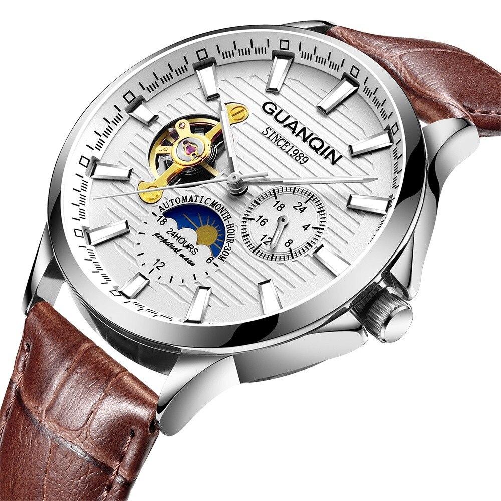 HTB1I9A1KeuSBuNjy1Xcq6AYjFXaO GUANQIN 2019 new watch men waterproof Automatic Luminous men watches top brand luxury skeleton clock men leather erkek kol saati