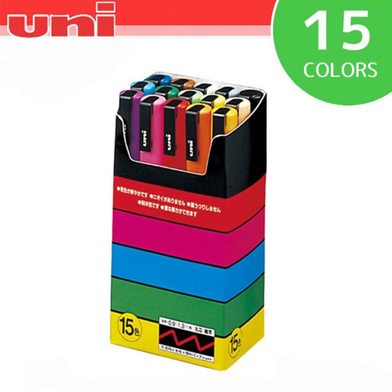 미쓰비시 유니 posca PC 3M 페인트 마커 파인 Tip 0.9mm 1.3mm 마커 펜 팝 포스터 광고 펜 15 색 세트-에서아트 마커부터 사무실 & 학교 용품 의  그룹 1