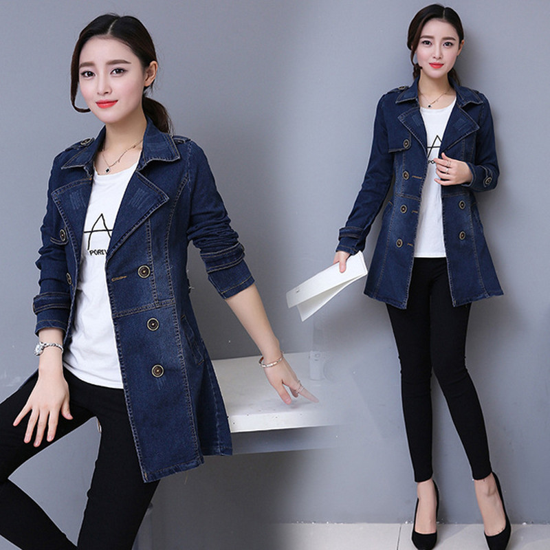 New Spring Autumn Women   Trench   Plus Size Casual Double Breasted Slim Sashes Jeans   Trench   Coat For Women Large Denim Outerwear