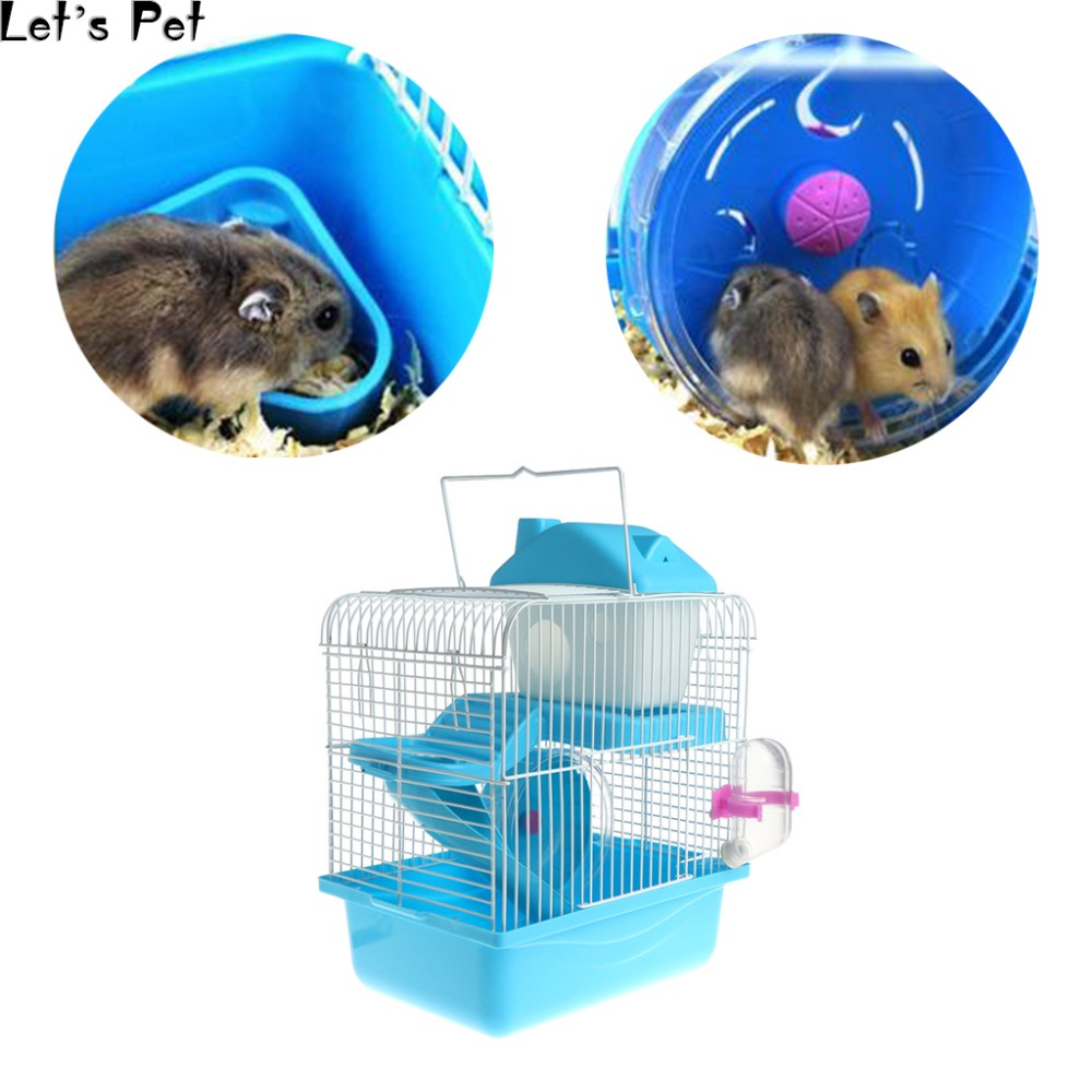 Let's Pet 2 Floors Storey Hamster Cage Mouse House With Slide Disk Spinning Water Bottle