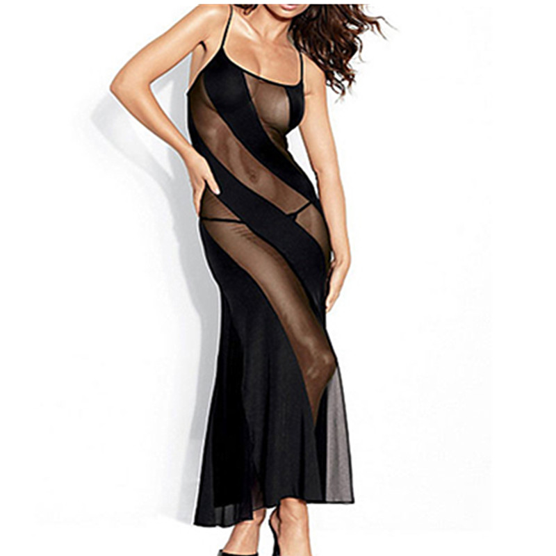 Wholesale Spaghetti Strap Transparent Women Sleepwear Sexy Night Gown New Porn Erotic Babydoll Patchwork Gown Dress Summer Style