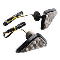 LEEPEE 1 Pair 9 LED Motorbike Indicator Turn Signal Motorcycle Flasher Piranha Light High Power Smoked Color Triangle 12V