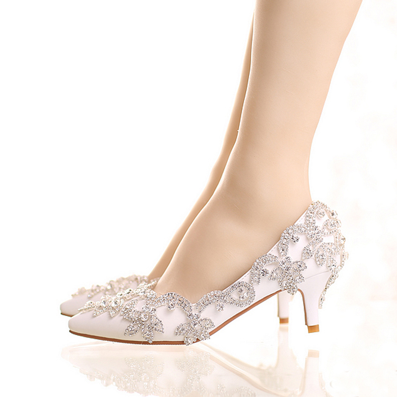 Exquisite White Color Rhinestone Bridal Shoes Pointed Toe and Round Toe Platform Wedding Shoes with Silver Rhinestone Prom Pumps fashion white elegant stiletto heel toe with rhinestone wedding bridal shoes platforms comfortable pumps round toes