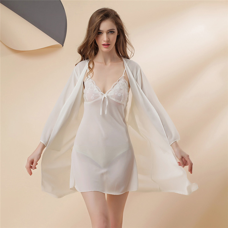 Sexy Woman Pajamas Spring Summer Chiffon Night Clothes Twinset Deep V Extreme Charming Silk Robe Perspective Camisole