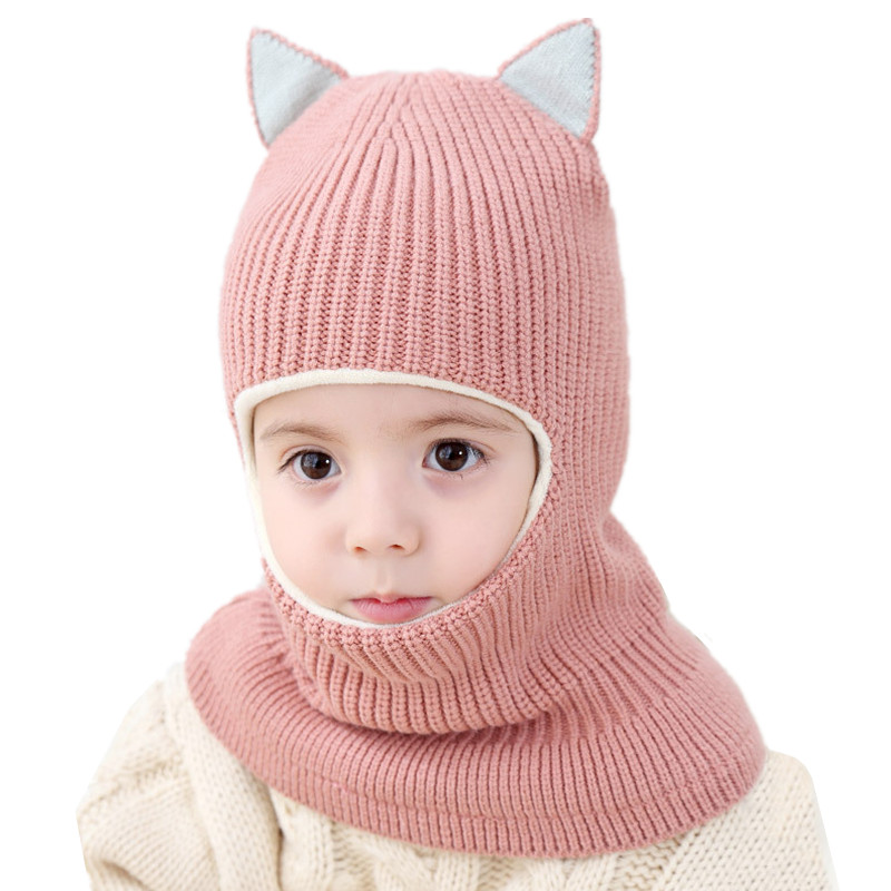 Winter Boys Girls Cat Ear Hat Scarf Set Baby Knitted Hat Scarf Set Children Plus Velvet Hat And Collar Neck Protection Windproof