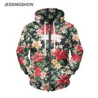 JESSINGSHOW Women Men Lovers Fleeces Sweatshirts Hooded 3D Printed Flower Sweatshirt Long Sleeve Zip Up Clothing Sudaderas Mujer