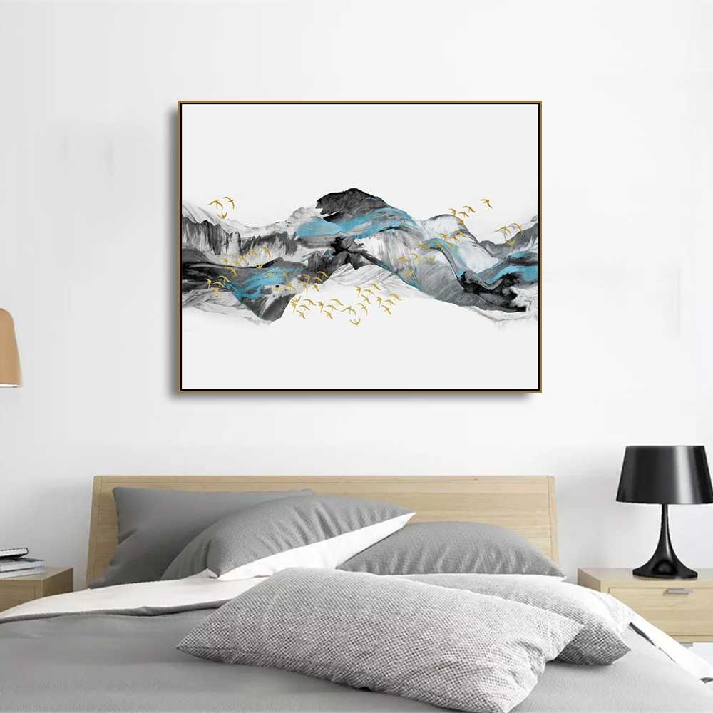 Laeacco Canvas Abstract Paintings Calligraphy Posters and Prints Chinese Style Landscape Wall Art Picture Living Room Home Decor
