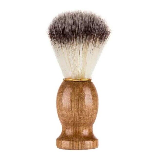 ナイロンウール木製ハンドル口ひげあごひげブラシひげあごひげクリーニングサロンアプライアンスツール最高シェービング理髪男性のための