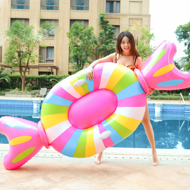 210cm Giant Inflatable Lollipop Pool Float Lie-On Candy Swimming Ring For Adult Children Water Party Fun Toys Air Mattress boia