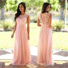 2019 Coral Lace Chiffon Elegant Bridesmaid Dresses Jewel Sleeveless Wedding  Guest Dress Sheer Back Sweep Train. 3 Colors Available 380b0787ce75