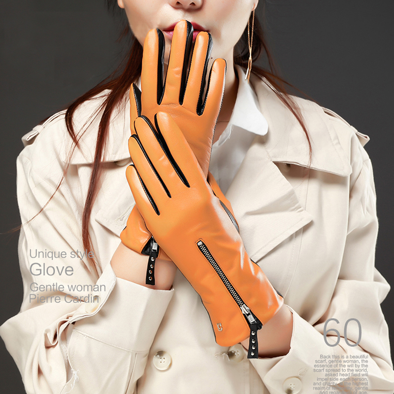 women winter warm combined color mid zipper style top Italy lamb skin leather gloves