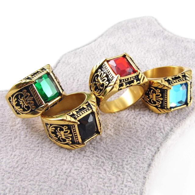 Men Vintage Antique Gold Plated Crystal Ring