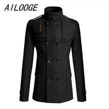 AILOOGE мужская мода Тонкий длинный плащ ветровка с лацканами Кнопка Куртка Верхняя одежда