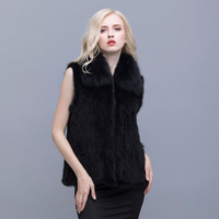 Real mink fox collar dress thickening increase L 5XL multi code optional fox fur mink wool clothes Winter women's jacket
