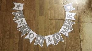 Image 5 - New Custom made Grey Gray White Star Name Bunting Banner Boy Baby shower Birthday Party Decoration Nursery Garland Photo Props