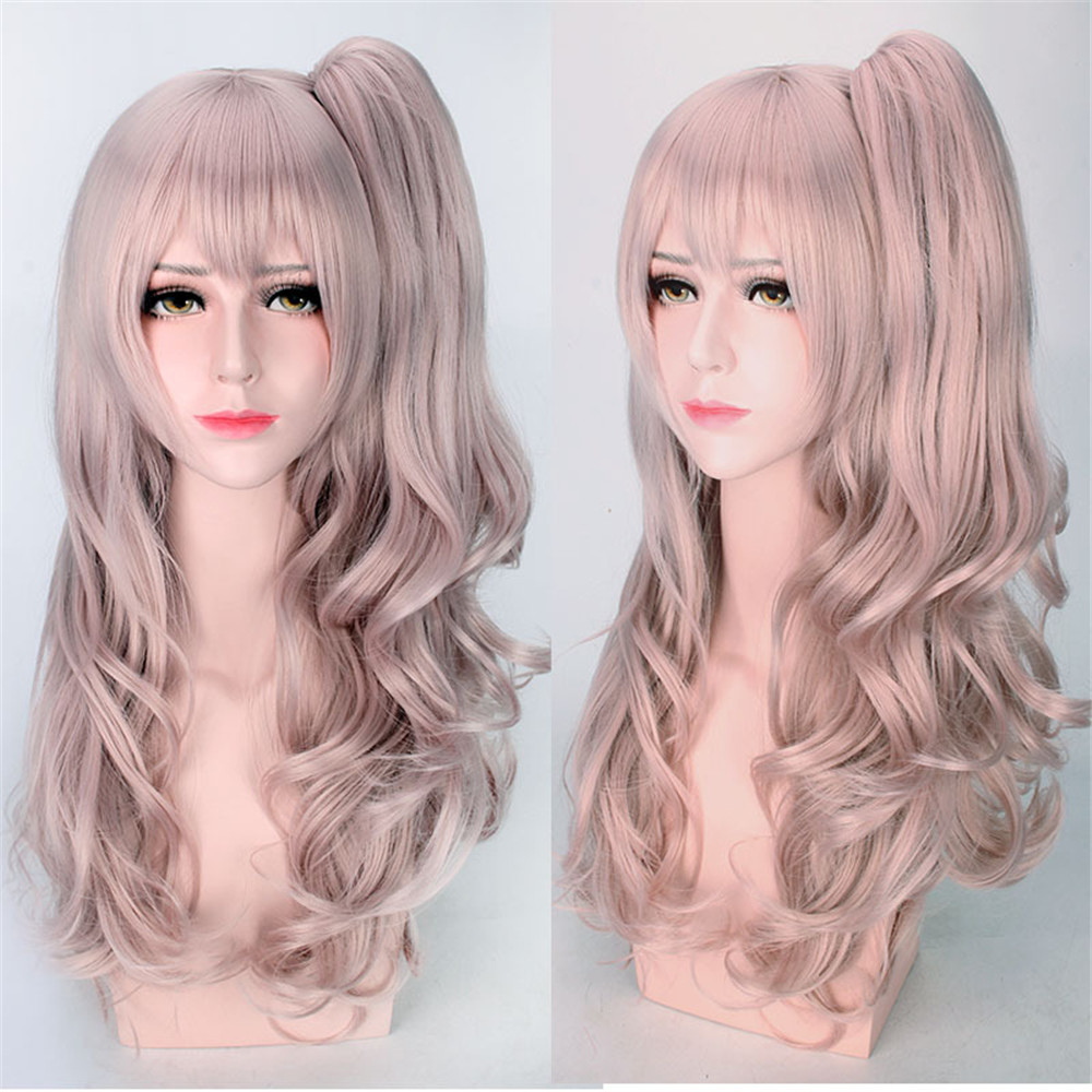 Japanese Game Girls Frontline Cosplay Wig UMP45 Cosplay Wig Long Curly Cosplay Wig Hair Light Brown Ponytail Long Wig for Women
