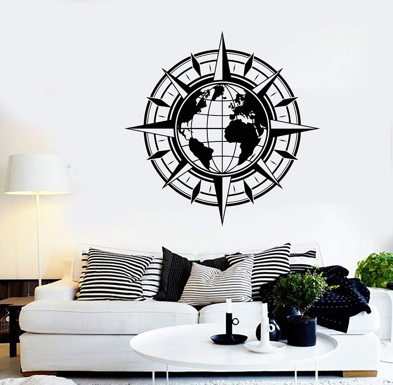 World Compass Travel Earth Globe Sticker Vinyl Wall Decal Map Art Deco Sticker Living Room Bedroom Home Decor 2DT8-in Wall Stickers from Home & Garden