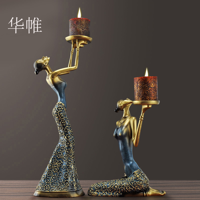 Classical Lady Sculpture Candelabra Decorative Polyresin Vintage Candle Holder Dinning Table Art and Craft Ornament Accessories