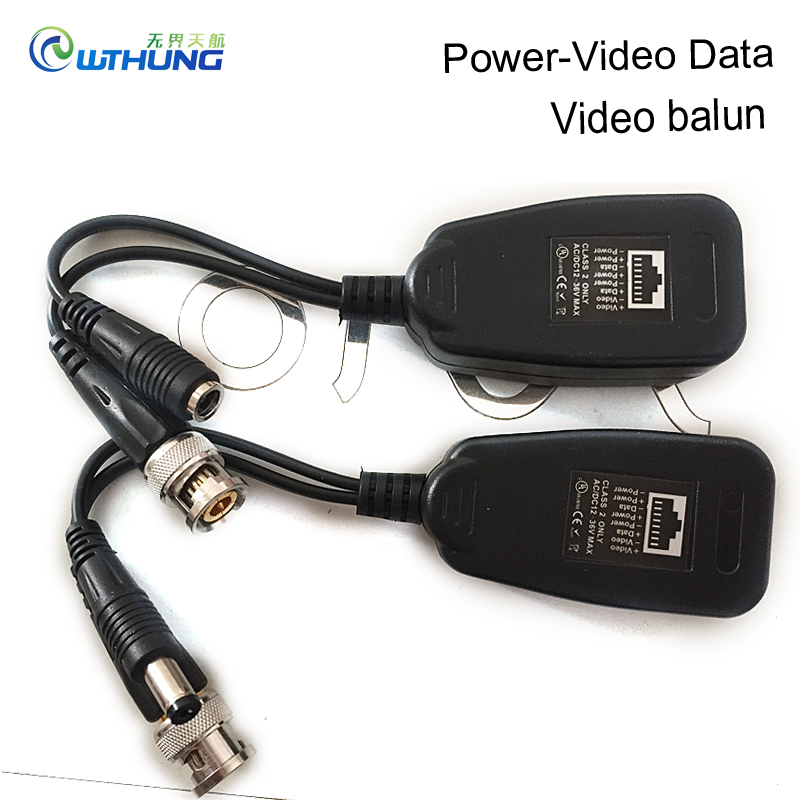 Video Balun Transceiver Supply 1CH Passive Balun RJ45 Power-Video-Data For CVI/TVI/AHD/CVBS for CCTV security Camera Accessories cctv system camera video data power surge protector
