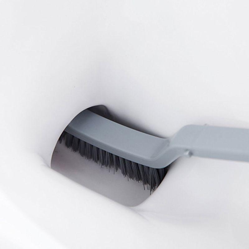 Toilet Brush Curved Shaped Handle Sanitary Cleaning Bathroom Bowl Rim Scrub Tool