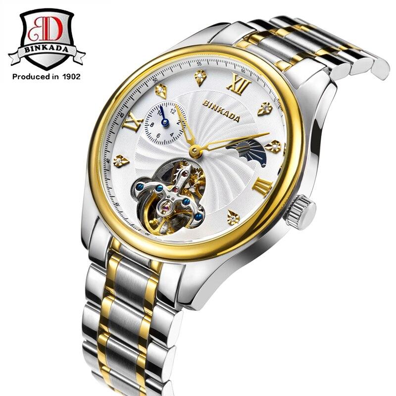 BINKADA מותג גברים שעון עמיד למים שעון קרמיקה יוקרה מותג שעונים מכאניים שלב ירח זכר חיוג גדול של גברים שעוני יד