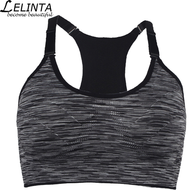 555b50ebcb400 Black Gray Purple Red Green Women Sports Bra Top Absorver Sweat Yoga  Fitness Seamless Cup Bra Padded Push Up Top Vest Size M L