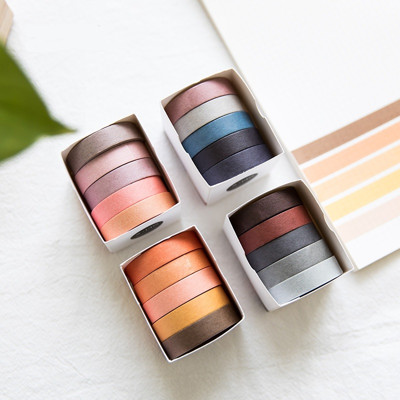 5pcs/set Cute Japanese Washi Tape Basic Color DIY Decorative Adhesive Tape Scrapbooking Masking Tape Sticker Photo DIY 18 citis set travel series washi tape set japanese cute masking tape diy post it scrapbooking sticker label gift box set