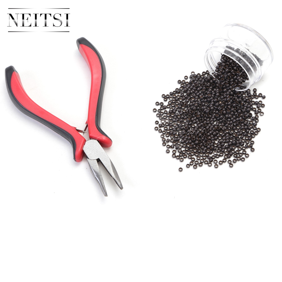 Neitsi 500 Beads Nano Rings With Bent Needle Nose Plier for Links Hair Extensions