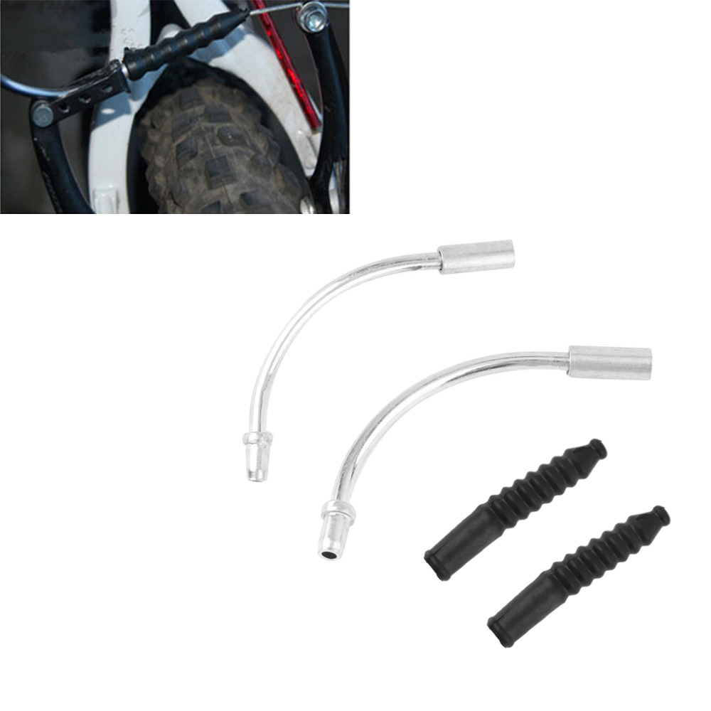 1 Pair Bike V Brake Noodles Cable Guide Bend Pipe with Plastic Boots Sleeves Set Brake Cable Protect Hose Accessories New