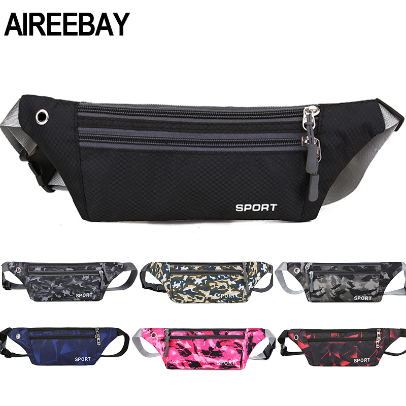 AIREEBAY Fanny Pack Female New Sports Fashion Waterproof Chest Handbag Unisex Waist Bag Ladies Waist Pack Belly Belt Bags Purse