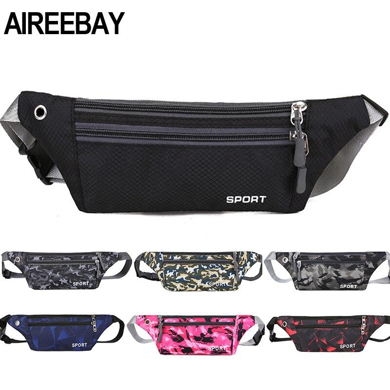 AIREEBAY Fanny Pack Female New Sports Fashion Waterproof Chest Handbag Unisex Waist Bag Ladies Waist Pack Belly Belt Bags Purse