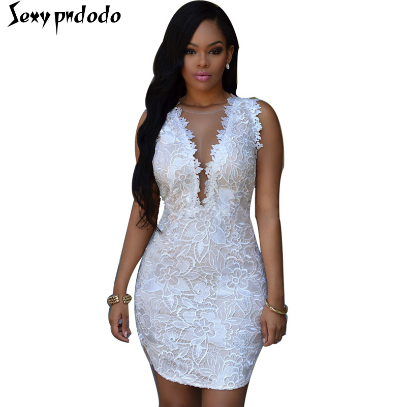 Women Sexy Mesh Lace Mini Dresses V-neck Sleeveless Elegant Woman Dress Lady Pencil Party Wear Dress big size vestidos blancos