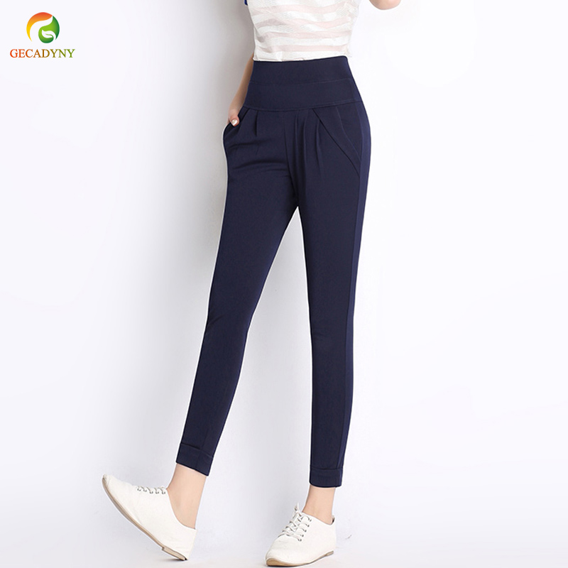 Plus Size S-6XL Harem Pants Capris Women Solid Candy Color Stretch Ankle-Length Pencil Pants Casual Pants Capris Trousers 2019