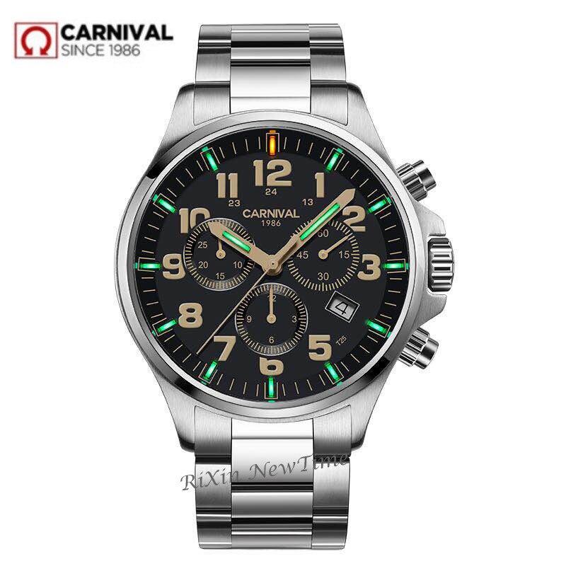 Top merk luxe SwitzerlandRonda Chronograaf stop watch mannen T25 tritium lichtgevende quartz mannen horloges klok volledige staal waterdicht-in Quartz Horloges van Horloges op  Groep 1